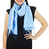 Rayon and silk blend scarf, 'Blue Bouquet' - Fair Trade Floral Blue Scarf from Thailand