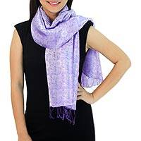 Scarf, 'Lilac Bouquet' - Lilac Flowers on Woven Thai Scarf