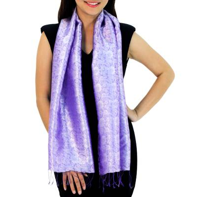 Rayon and silk blend scarf, 'Lilac Bouquet' - Lilac Flowers on Woven Thai Scarf