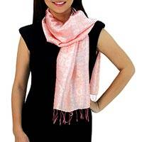 Rayon and silk blend scarf, 'Peach Bouquet' - Peach Color Woven Floral Scarf from Thailand