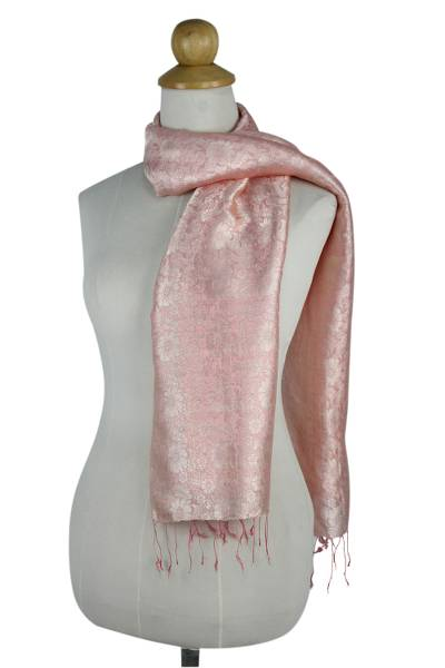 Scarf, 'Peach Bouquet' - Peach Color Woven Floral Scarf from Thailand
