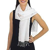 Rayon and silk blend scarf, 'Ivory Bouquet'