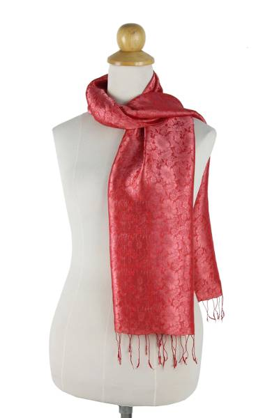 Rayon and silk blend scarf, 'Crimson Bouquet' - Red Floral Rayon and Silk Thai Scarf