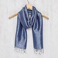 Rayon and silk blend scarf, 'Navy Blue Bouquet'