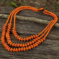 Wood beaded necklace, 'Happy Orange' - Artisan Crafted Orange Wood Beaded Waterfall Necklace