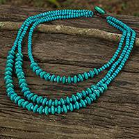 Wood beaded necklace, 'Happy Blue' - Blue Beaded Wood Waterfall Necklace Artisan Crafted Jewelry