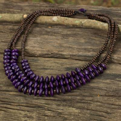 Wood beaded necklace, 'Happy Purple Brown' - Artisan Crafted Purple Wood Beaded Waterfall Necklace