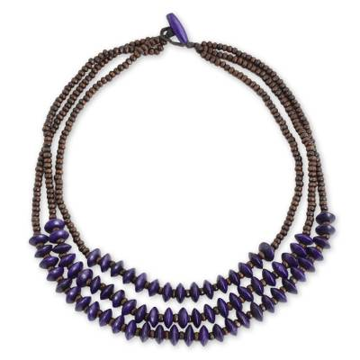 Artisan Crafted Purple Wood Beaded Waterfall Necklace
