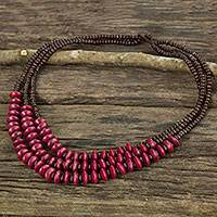 Wood beaded necklace, 'Happy Red Brown' - Artisan Made Wood Bead Collar Necklace in Burnished Red and