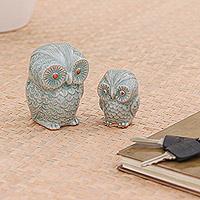 Celadon ceramic figurines, 'Little Light Blue Owls' (pair)