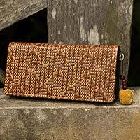 Paper and cotton wallet, 'Fishtail' - Woven Paper Cord Wallet Lined in Cotton from Thailand