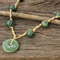 Jade pendant necklace, 'Natural Spirit' - Jade Pendant Necklace on Knotted Cords from Thailand