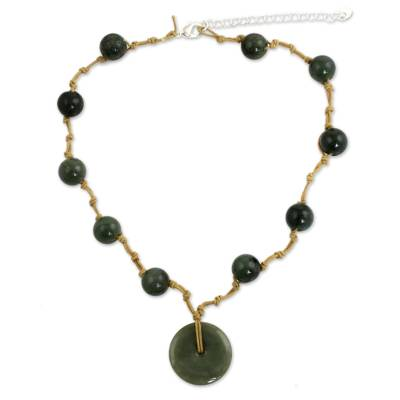 Jade Pendant Necklace on Knotted Cords from Thailand