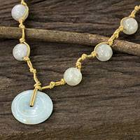 White jade pendant necklace, 'Independent Spirit' - Thai Artisan Crafted White Jade Pendant Necklace