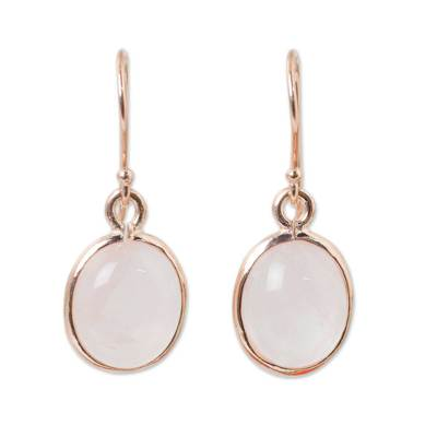 Rose gold plated rose quartz dangle earrings, 'Morning Rose' - Rose Quartz Dangle Earrings with 18k Rose Gold Plate