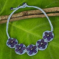 Lapis lazuli flower necklace, 'Blossoming Rhyme' - Hand Made Blue Lapis Lazuli and Gray Pearl Necklace