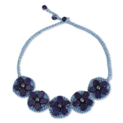 Hand Made Blue Lapis Lazuli and Gray Pearl Necklace