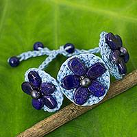 Lapis lazuli flower bracelet, 'Blossoming Rhyme' - Light Blue Cord Bracelet with Lapis Lazuli Bead Flowers