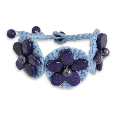 Light Blue Cord Bracelet with Lapis Lazuli Bead Flowers