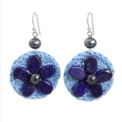 Hand Made Lapis Lazuli and Gray Pearl Dangle Earrings
