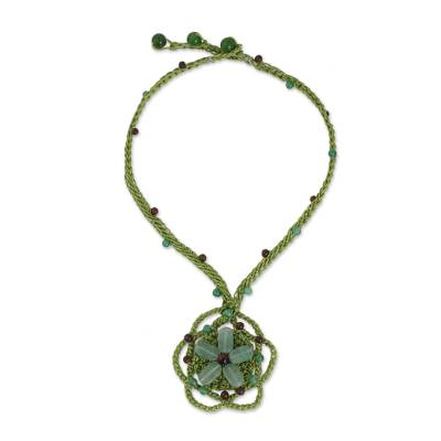 Fair Trade Flower Necklace with Green Quartz and Tiger