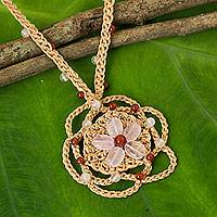 Rose quartz and carnelian beaded pendant necklace, 'Beach Flower' - Beige Cord Necklace with Rose Quartz Flower Pendant