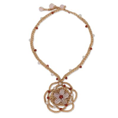 Beige Cord Necklace with Rose Quartz Flower Pendant