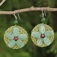 Quartz beaded flower earrings, 'Meadow Flower' - Fair Trade Green Quartz and Tiger's Eye Flower Earrings