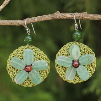 Quartz beaded flower earrings, 'Meadow Flower' - Fair Trade Green Quartz and Tiger's Eye Flower Earrings