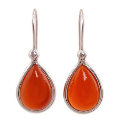 Natural Carnelian and Sterling Silver 925 Dangle Earrings