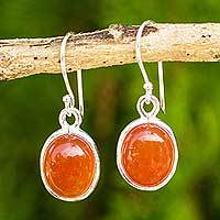Carnelian dangle earrings, 'Western Sunset' - Handmade Carnelian Earrings Set in 925 Sterling Silver