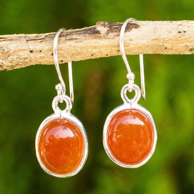Carnelian Dangle Earrings Western Sunset Handmade Set In 925 Sterling