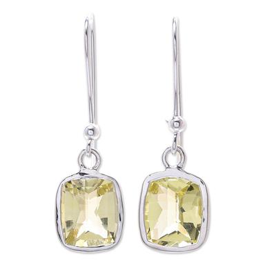 Lemon quartz dangle earrings, 'Autumn Sunshine' - Princess Cut 12 Ct Lemon Quartz and Silver Dangle Earrings
