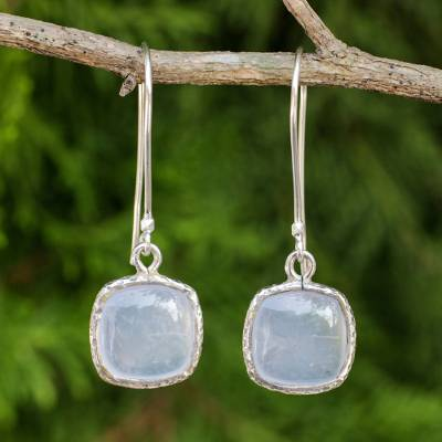 Chalcedony dangle earrings, 'Winter Sky' - Pale Blue Chalcedony Earrings with Hammered Sterling Silver