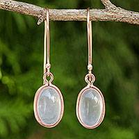 Rose gold plated rose quartz dangle earrings, 'Autumn Rose'
