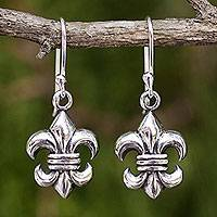 Sterling silver dangle earrings, 'Fleur-de-lis'