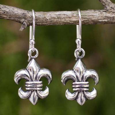 Sterling silver dangle earrings, 'Fleur-de-lis' - Fleur-de-lis Dangle Earrings Crafted in Sterling 925 Silver