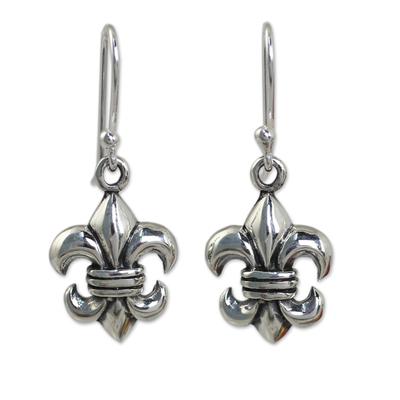Fleur-de-lis Dangle Earrings Crafted in Sterling 925 Silver