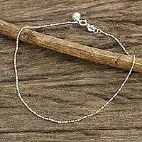 Sterling silver anklet, 'Simple Happiness' - Beaded Chain Anklet with Bell in Sterling 925 Silver