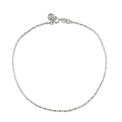 Beaded Chain Anklet with Bell in Sterling 925 Silver