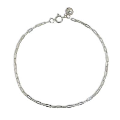 Matte Finish Sterling Silver Chain Anklet from Thai Artisan