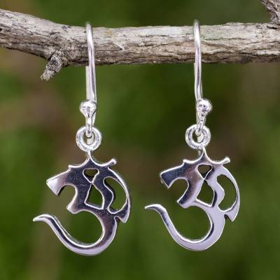 Sterling silver dangle earrings, 'Spirit Om' - Small Sterling Silver Dangle Earrings with Om Symbol