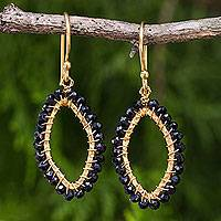 Gold plated onyx dangle earrings, 'Black Treasure' - Hammered Gold Plated Earrings with Faceted Onyx Beads