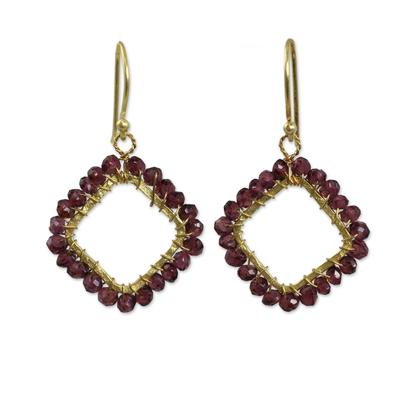 Beaded Garnet Dangle Earrings with 24k Gold Plated Brass
