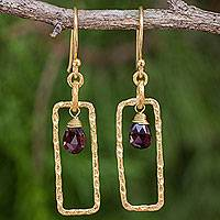 Gold plated garnet dangle earrings, 'Crimson Window' - Rectangular Dangle Earrings with 24k Gold Plate and Garnets
