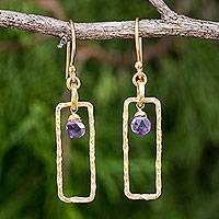 Gold plated garnet amethyst earrings, 'Lilac Window' - Amethyst Briolette and Gold Plated Brass Dangle Earrings