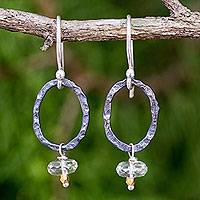 Prasiolite dangle earrings, 'Forged in Fire' - Hammered Silver Dangle Earrings with Faceted Prasiolite