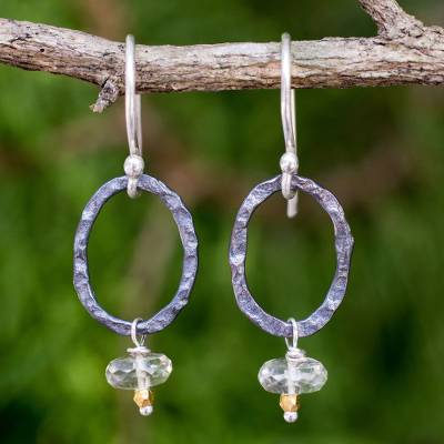 Prasiolite dangle earrings, 'Forged in Fire' - Hammered Silver Dangle Earrings with Faceted Prasiolite