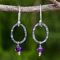 Amethyst dangle earrings, 'Forged in Wisdom' - Thai Hammered Silver and Amethyst Dangle Earrings