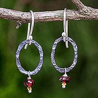 Garnet dangle earrings, 'Forged in Passion' - Garnet Dangle Earrings with Oxidized Silver and 24k Gold